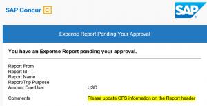 Expense Report Screen Shot
